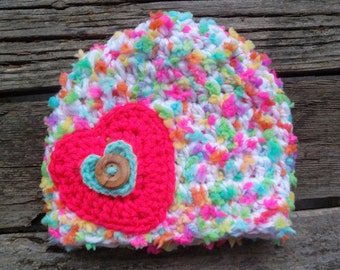 Crochet Baby Hat, Sweet Heart Hat, Rainbow Hat, Baby Girl Hat, Infant Girl Hat, Baby Girl Beanie, Rainbow,  Heart, Crochet Infant Hat