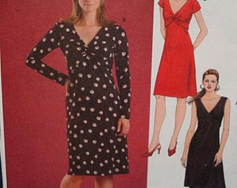 Figure Hugging Plunging V Neckline Pullover Dress Lap Front Sleeve Variations McCall's M4652 FF Womens Sewing Pattern Sizes 4 - 14 Available