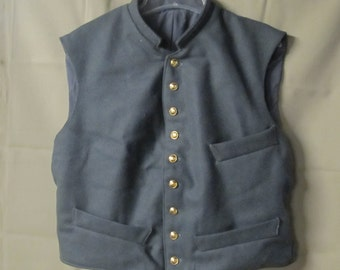 Size 40 - Civil War Confederate wool vest - dark grey - three pockets - costurme quality