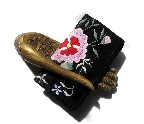 Black Silk Wallet Hand Embroidered in Asia/ Lotus Flower/ Black Red Silk