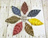 Leather Bag Charm -  Leather Zipper Pull  -  Leather Key Chain -  Leather Feather Jewelry - Key Fob