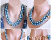 RESERVED FOR CS:  Rare -  Ashira Denim Jean Coral with Gold Dipped Vintage Hammered Brass Focal Stations - Statement Necklace