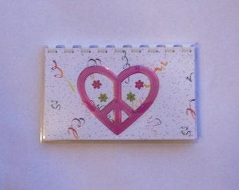 Handmade Pink Peace Heart Blank Recipe book