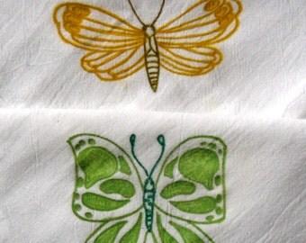 2 Liquid Painted Butterflies Flour Sack Dishtowel Set