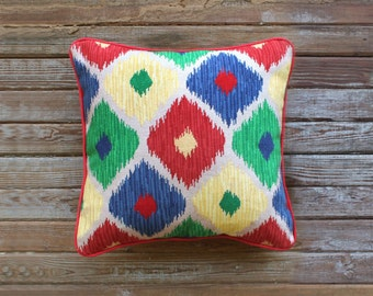 SALE - ikat needlepoint canvas - diy - modern - green, yellow, red and blue