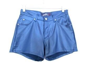 90's Wet Look High Rise Denim Shorts size - S/M