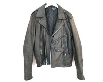 90's Leather Moto Biker Jacket size - L/XL