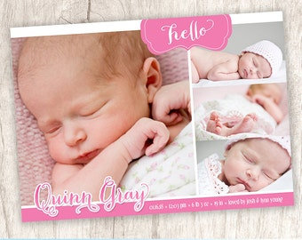 Hello Baby Girl Birth Announcement, Girls Birth Photo Announcement, Picture Collage Baby Announcement, Pink - DiY Printable || A Pink Hello