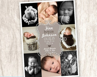 Gender Neutral Baby Announcement, Greige Birth Photo Announcement, Picture Collage Announcement - DiY Printable || 8 Dust Doodle Delight