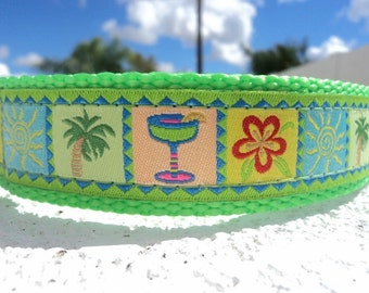 """Sale Large Dog Collar 1.5"""" wide Side Release or Martingale collar  style -  Tropical Breeze Lime - see 3/4"""" & 1"""" listings within"""