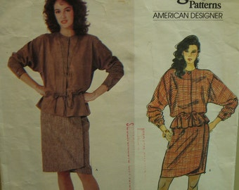 80s Anne Klein Drawstring Tunic Pattern, Fitted Shaped Wrap Skirt, Concealed Closure, Long Sleeves, Vogue American Designer No. 2986 Size 10