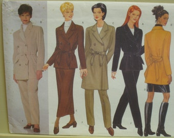 Womans Straight Coat Pattern, Double Breasted, Unlined, Notched Collar, Princess Seams, Tie Belt, Butterick No.5271 UNCUT Size 6 8 10