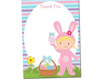 PRINTABLE Girl Easter Bunny Thank You Cards (Character of your choice) #412