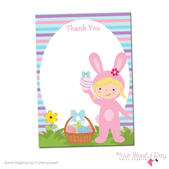 printable girl easter bunny thank you cards  character of