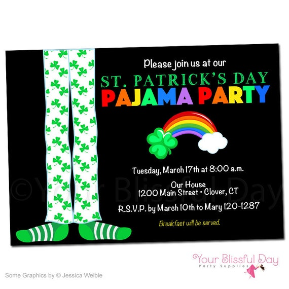 St. Patrick's Day Pajama Party Invitations