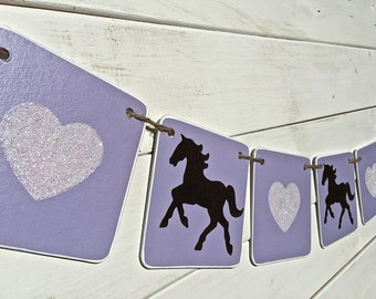Horse banner, pony banner, horse garland, girls bedroom decoration, purple and brown, glitter hearts, girl photo prop, girl party banner