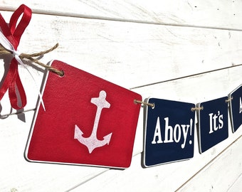 IT'S A BOY Banner, Ahoy, nautical baby shower, red and blue, anchor baby shower, baby boy, nursery decoration, Baby shower garland