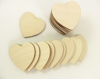 "Wood Hearts Laser Cut Wood 2"" x 2"" x 1/8"" Heart Shapes - 25 Pieces"