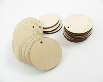 """Wood Earring Circles Pendant Laser Cut Wood Jewelry Shapes 2"""" (5.08 cm) Unfinished Wood - One Hole - 25 Pieces"""