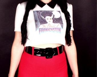 Bride of Frankenstein Monster Vinatge Iron On White Sweatshirt Black Collared Crop Top Halloween