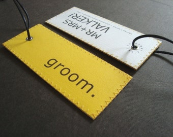 Deluxe custommade MR & MRS luggage tag set in Clean Minimalist Design - Honeymoon luggage tags for the Sophisticated Bride and the Groom