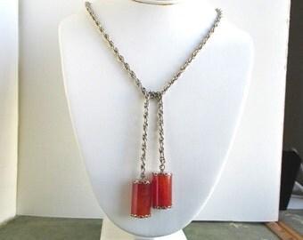 Vintage Marbled Bakelite & Gold Tone Necklace - 28""