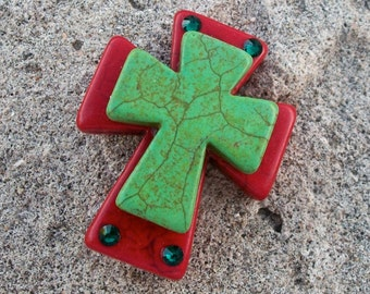 Large Stacked Red Stone Cross with Lime Green Stone Cross and Bling