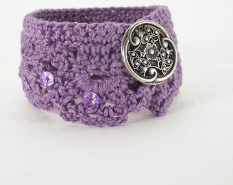 Crocheted Jewel Toned Bracelet Plum Lavender Purple Flower Button Sparkle Sequins Wedding Gift Summer