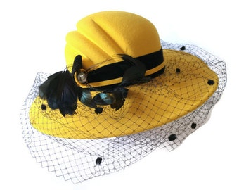Vintage Yellow Hat with Netting, Feathers and Rhinestone, Wool Felt Hat, Yellow and Black Hat, Wide Brimmed Hat