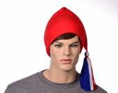 Red Phrygian Cap Liberty Hat Fleece Red White Blue Tassel Revolution Hat Patriotic Beanie
