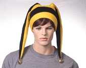 Jester Hat in Black and Gold with Long Points Fleece Hat Festive Harlequin Cap with Bells Mens Costume Hat