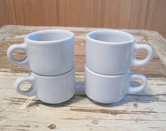 Four Vintage Blue Buffalo Restaurant Ware Coffee Mugs