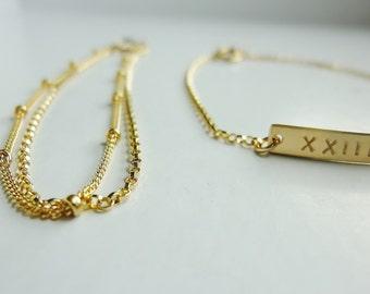Nameplate Bracelet-Name Bar Bracelet-Roman Numeral Bracelet-Coordinates Bracelet-Initial Bar Bracelet-Personalized Bracelet Set-Momentusny