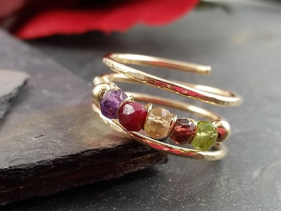 14kt Gold Filled Mother's Ring or Family Ring or Gemstone Ring