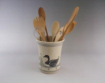 Large Kitchen Spoon Holder - Wine Caddy- Vase  Stoneware Loon