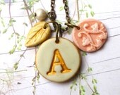 Letter necklace - Cottage Chic - Romantic Monogram Medallion - Bridesmaids