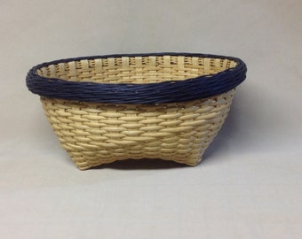 Hand Woven Cat Head Basket with Navy Blue Gretchen Border