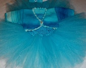 Baby Tutu dress, tulle,  headband and bolero, blue oufit, baby girl, easter, special occasion. 3 piece outfit, OOAK