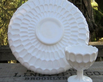 Milk Glass Platter and Compote in Thumbprint Design - Chip and Dip - Wedding - Oak Hill Vintage