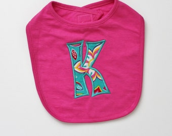 PERSONALIZED Hot Pink Baby Girl Bib with Appliqued Name