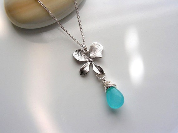 Matte Rhodium Plated Orchid and Blue Turquoise Candy Jade Necklace