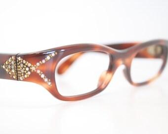Vintage Glasses Beautiful Rhinestone Cat Eye Glasses Retro Glasses Vintage Eyewear
