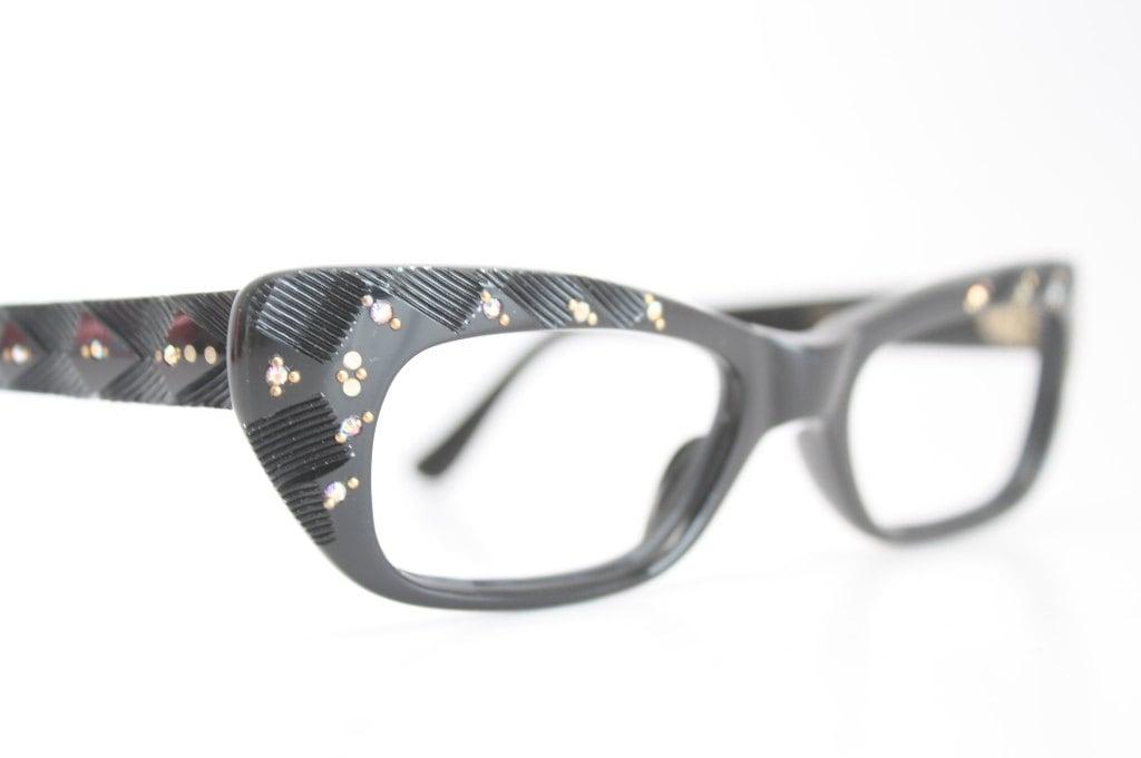 Cat Eye Rhinestone Eyeglass Frames : Unused Black Rhinestone cat eye glasses vintage cateye