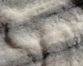 "Luxurious faux fur gray and white stripe  40"" X 31"""
