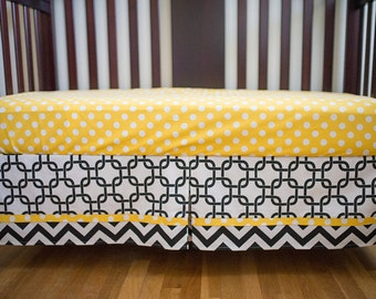 Gender Neutral Crib Skirt - Black, White and Yellow