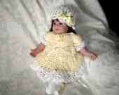 Newborn / Reborn Lemon Yellow 4 Piece Dress Set