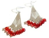 Chandelier Earrings, Swarovski Crystal Silver Laser Lace Dangle Earrings, Any Color, Select Crystal Color & Wire Type