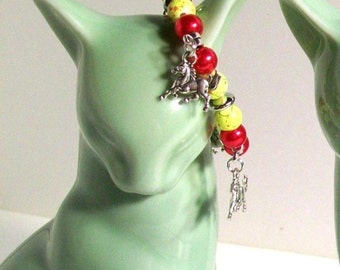 Stallion Charm Bracelet, Red & Yellow Stallion Charm Bracelet, Girl Size Jewelry, Sizes 5' to 8' in Length