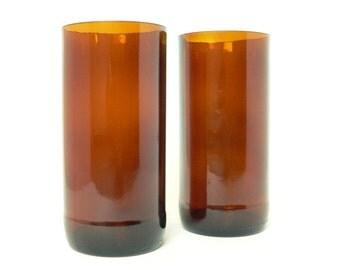 Amber Beer Bottle Pint Glasses Set of 2