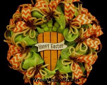 Easter Wreaths, Easter Carrot Wreath,  Carrot Wreath, Deco Mesh, Poly Mesh Wreath (1569)